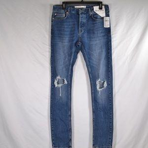 Topman Distressed Skinny Stretch Skinny Jeans M57B